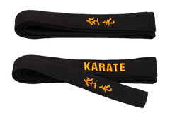 Black belt. For employment in karate royalty free stock photography
