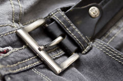 Black belt and jeans Royalty Free Stock Image