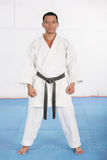 Black belt karate ready to start the training Royalty Free Stock Photos