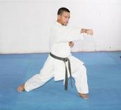 Black belt Man in kimono during training karate Royalty Free Stock Images