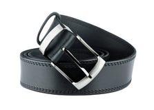 Black belt for men. On white background Stock Photos