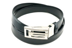Black belt for men. With silver buckle Stock Photo