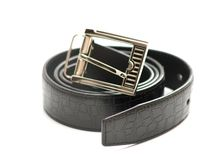 Black belt with metal lock Royalty Free Stock Photography