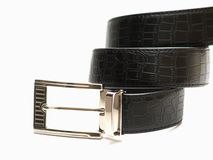 Black belt with metal lock Stock Photos