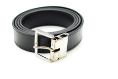 Black belt roll and silver buckle Stock Photography