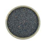 Black beluga lentils in a stoneware bowl Stock Photo