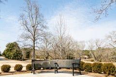 Black Bench in Winter Park Stock Photo