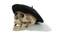 Black Beret on a skull Royalty Free Stock Photos