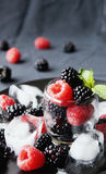 Black berries and raspberries in a glass cup Royalty Free Stock Photography