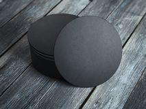 Black beverage coasters. 3d rendering Stock Images