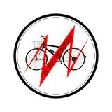 Black bicycle red line with inscription DO NOT USE BICYCLE all in the black round- vector illustration stock illustration