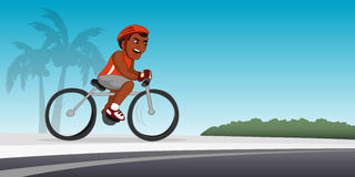 Black bicyclist riding Stock Photo