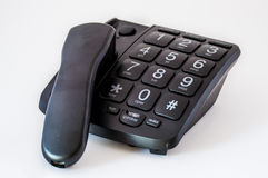 Black Big Button Telephone Stock Image