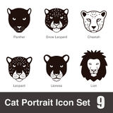 black big cat breed face cartoon flat icon series Stock Image