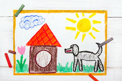 Black big dog and doghouse. Colorful drawing: black big dog and doghouse Royalty Free Stock Photography