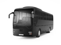 Black big tour bus isolated on a white background. Stock Photos