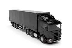 Black big truck isolated on a white background Stock Images