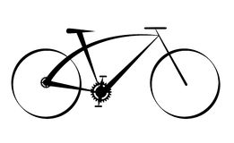 Black bike. Illustration of a modern black bike, isolated on white Stock Photo