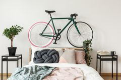 Black bike in bedroom. Black bike on bedhead in bedroom with pink and green blankets on bed and plant on cabinet Royalty Free Stock Images
