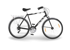 Black bike. Isolated black bicycle with trunk, vector vector illustration