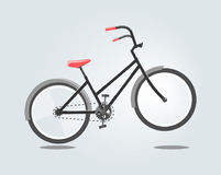 Black bike with red seat isolated on grey background. Vector illustration in cartoon style. Black bike with red seat isolated on grey background. Illustration Stock Photography