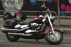 Black bike with shiny chrome accents. The black bike in biker-show in Kiev on Constitution Day June 28, 2015 stock image