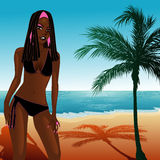 Black Bikini Beach Girl Royalty Free Stock Photo
