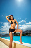 Black Bikini Girl Royalty Free Stock Photos