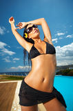 Black Bikini Girl Royalty Free Stock Photo