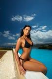 Black Bikini Girl Stock Image