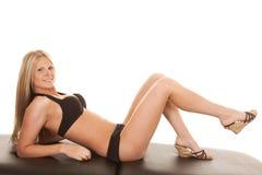 Black bikini lay smile Royalty Free Stock Image