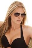 Black bikini top glasses Royalty Free Stock Image