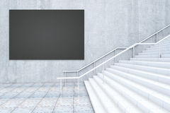 Black billboard and staircase. Side view of empty black billboard on wall and concrete staircase. Mock up, 3D Rendering Royalty Free Stock Images