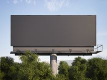 Black billboard among trees against. 3d rendering. Black billboard among trees against the backdrop of mountains. 3d rendering Royalty Free Stock Image