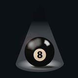 Black billiard ball number eight Royalty Free Stock Image