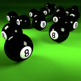 Black billiard balls number eight Stock Image