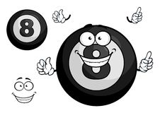 Black billiard eight ball cartoon character Stock Photography