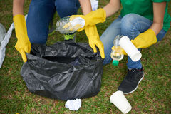 Black bin bag with household waste Royalty Free Stock Photos
