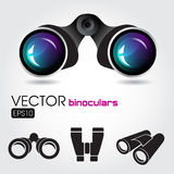 Black binocular with blue lenses and some symbols Stock Photo
