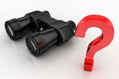 Black Binocular And Question Mark Royalty Free Stock Image