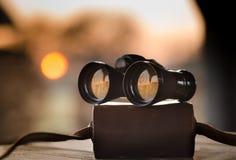 Black Binocular on Round Device Stock Photo
