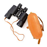 Black binoculars with orange cover Royalty Free Stock Photos