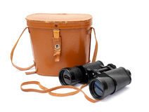 Black binoculars with orange cover Royalty Free Stock Photo