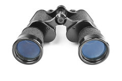 Black binoculars on white Royalty Free Stock Photography