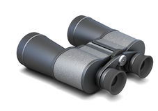 Black binoculars on a white background. 3d rendering Royalty Free Stock Image