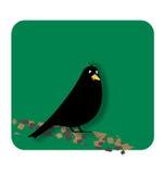 Black bird. A black little bird on branch Stock Illustration