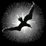 Black bird against the background of fog over the trees. Black and white vector illustration of a black raven silhouette against a background of fog over trees Royalty Free Stock Photo