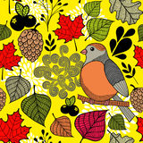 Black and with bird on the branch and autumn leaves. Endless pattern in vector Stock Images