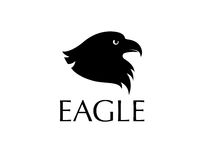 Black bird logo. Eagle head silhouette isolated on white background vector illustration