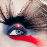 Black bird woman eye makeup macro beach sunrise Stock Images